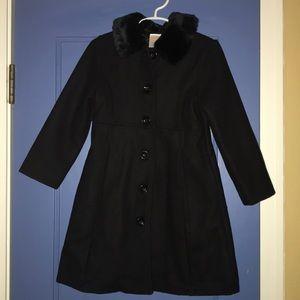 Gymboree XS 3-4 Black dress coat fur collar